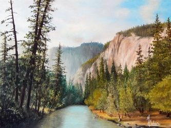 """Yosemite Valley"", Paintings, Realism, Landscape, Canvas,Oil,Painting, By Micheal Eaken"