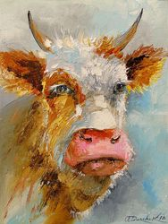 Young bull, Paintings, Impressionism, Animals, Canvas,Oil,Painting, By Olha   Darchuk