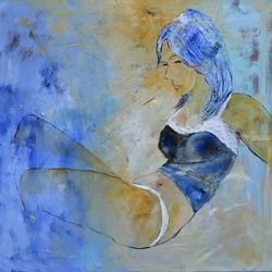 young girl 776140, Paintings, Expressionism, Nudes, Canvas, By Pol Ledent