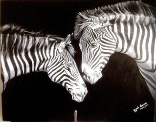 Zebras in love, Paintings, Fine Art, Animals, Oil, By Jayanta Barman