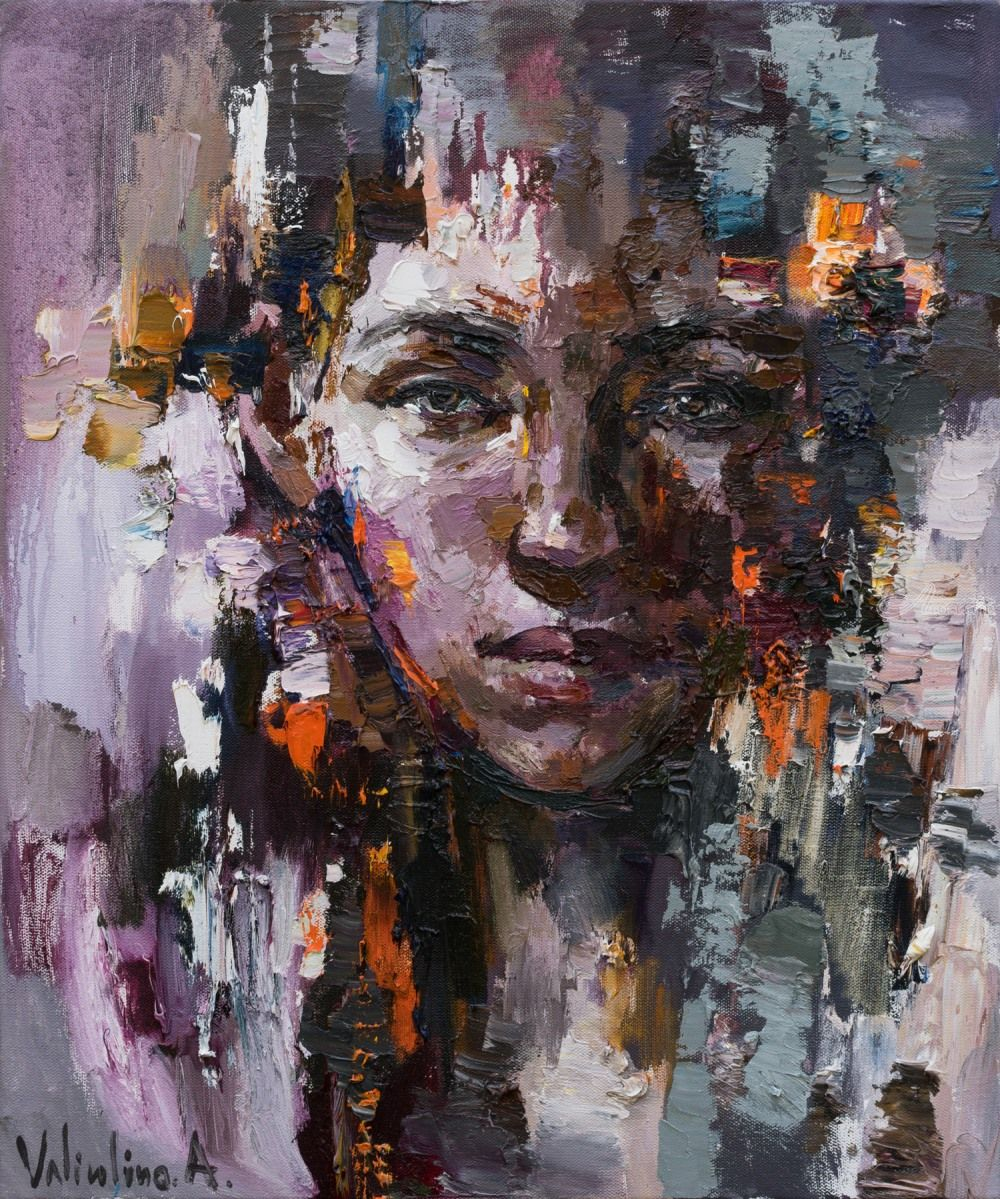 Abstract Female Portrait - Original Oil Painting Paintings -1549