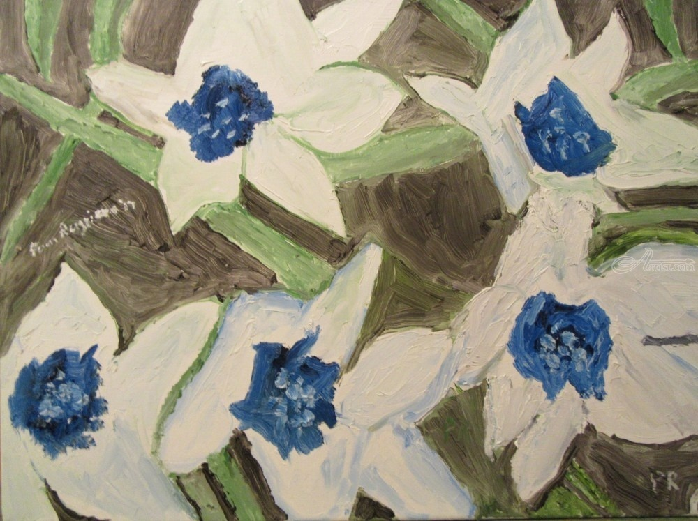 Blue and white flowers paintings by pamela ruggiero artist artist name pamela f ruggiero mightylinksfo