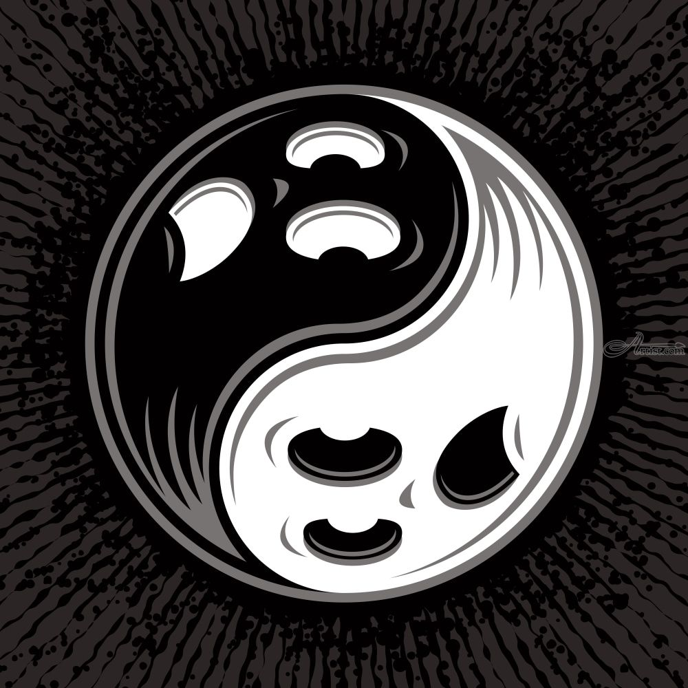 White paste and copy yang black symbol ☯ Meaning