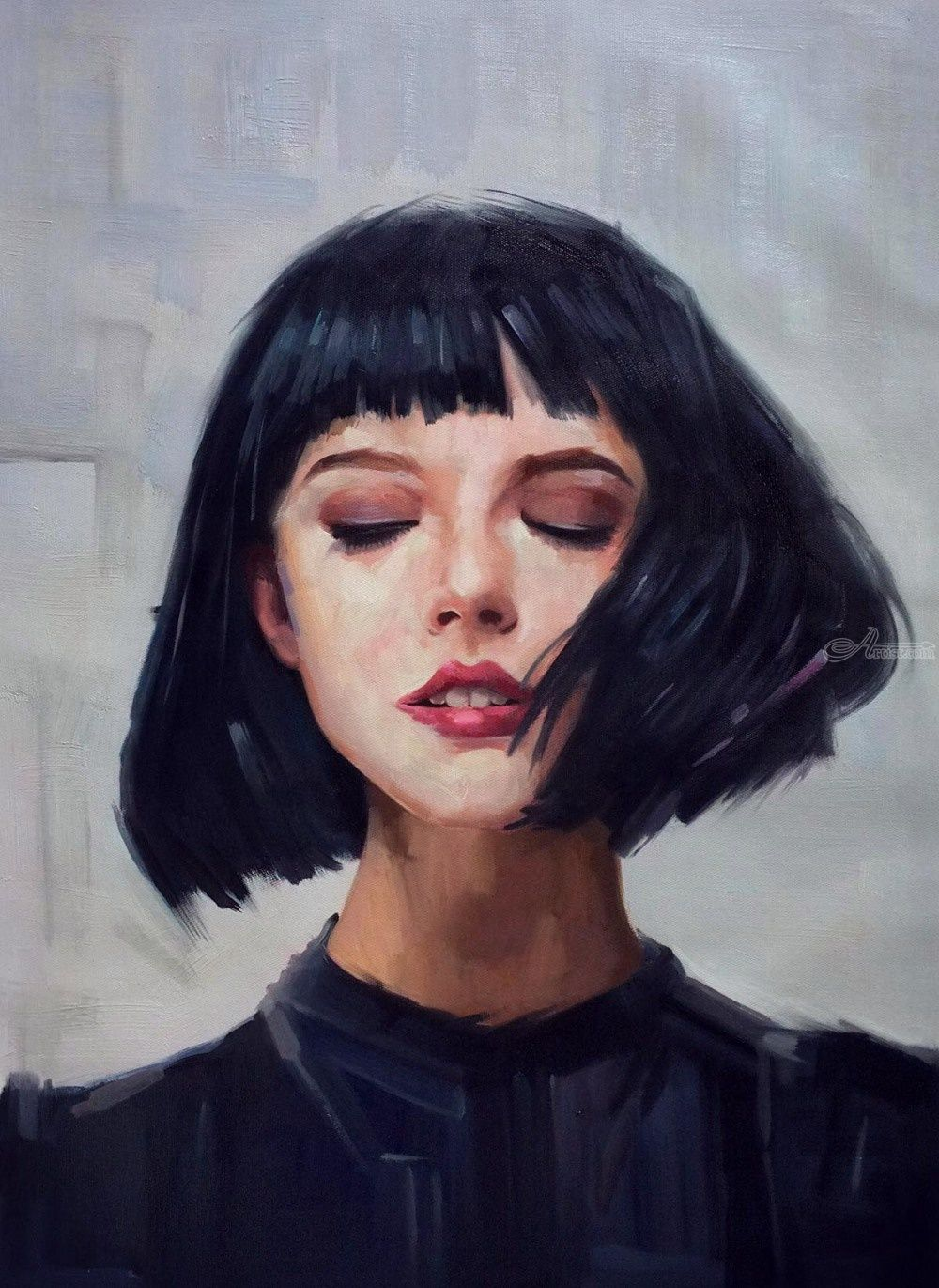 Impressionism portrait of young woman listen to sensual