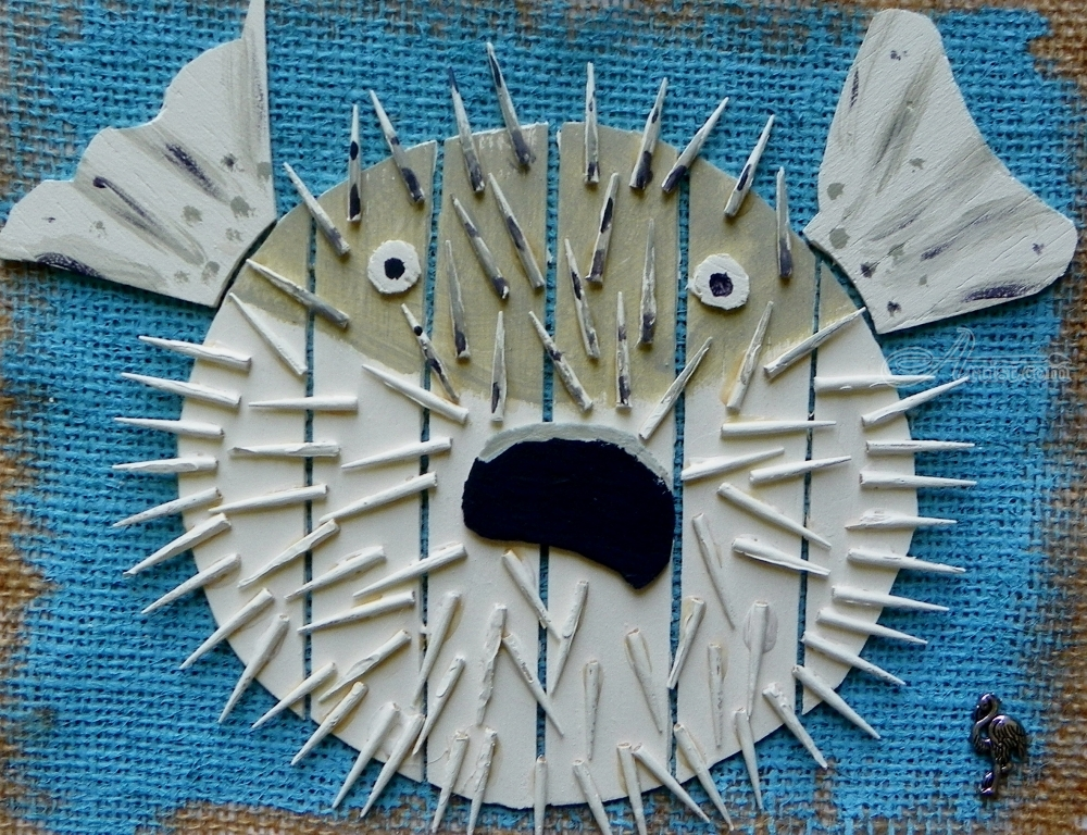 Assemblage by briz conard pop art nature created in for Puffer fish art