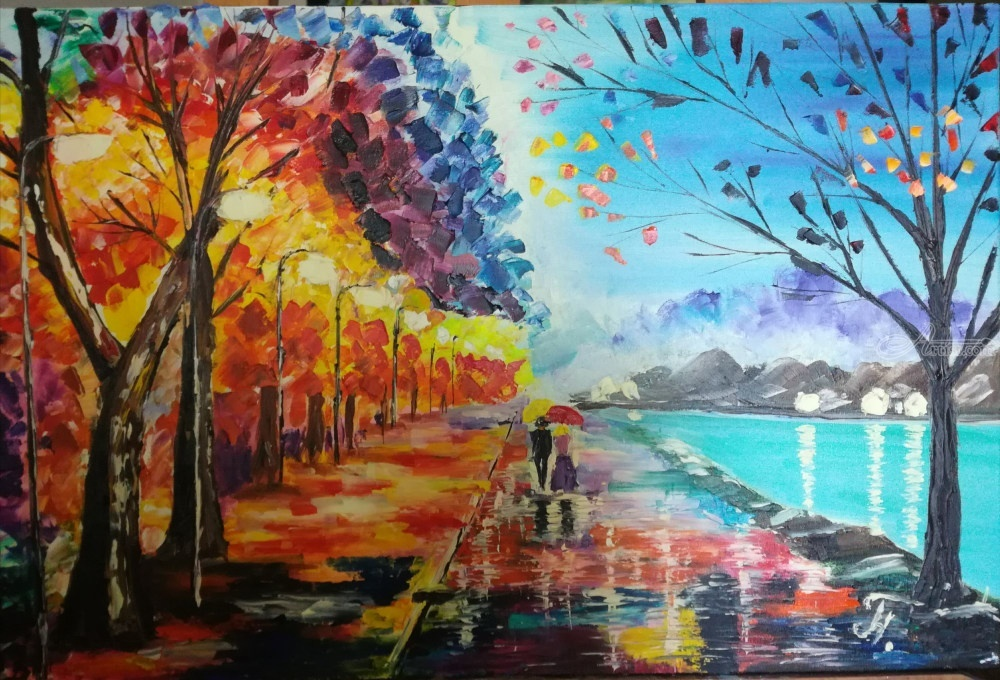 Oil Painting Night Walk Contemporary Palette Knife Art