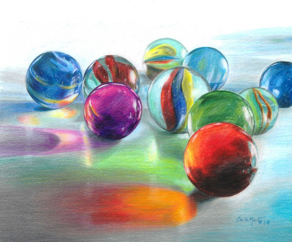 Colored Pencil Drawings Of Marbles : Red marble reflection drawings sketch paintings by carla