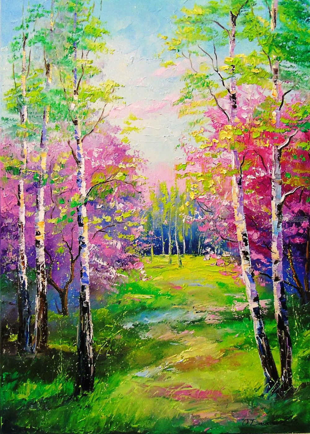 Big spring birch landscape painting Original  spring painting on canvas Birch trees and flowers painting wow wall art landscape painting