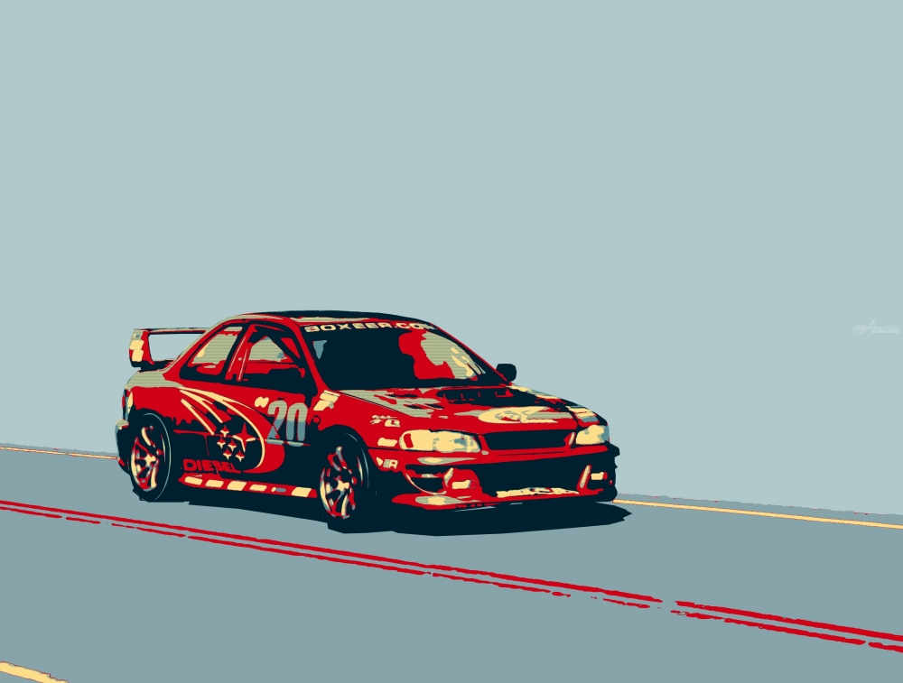 subaru impreza diesel rally car digital art    computer art