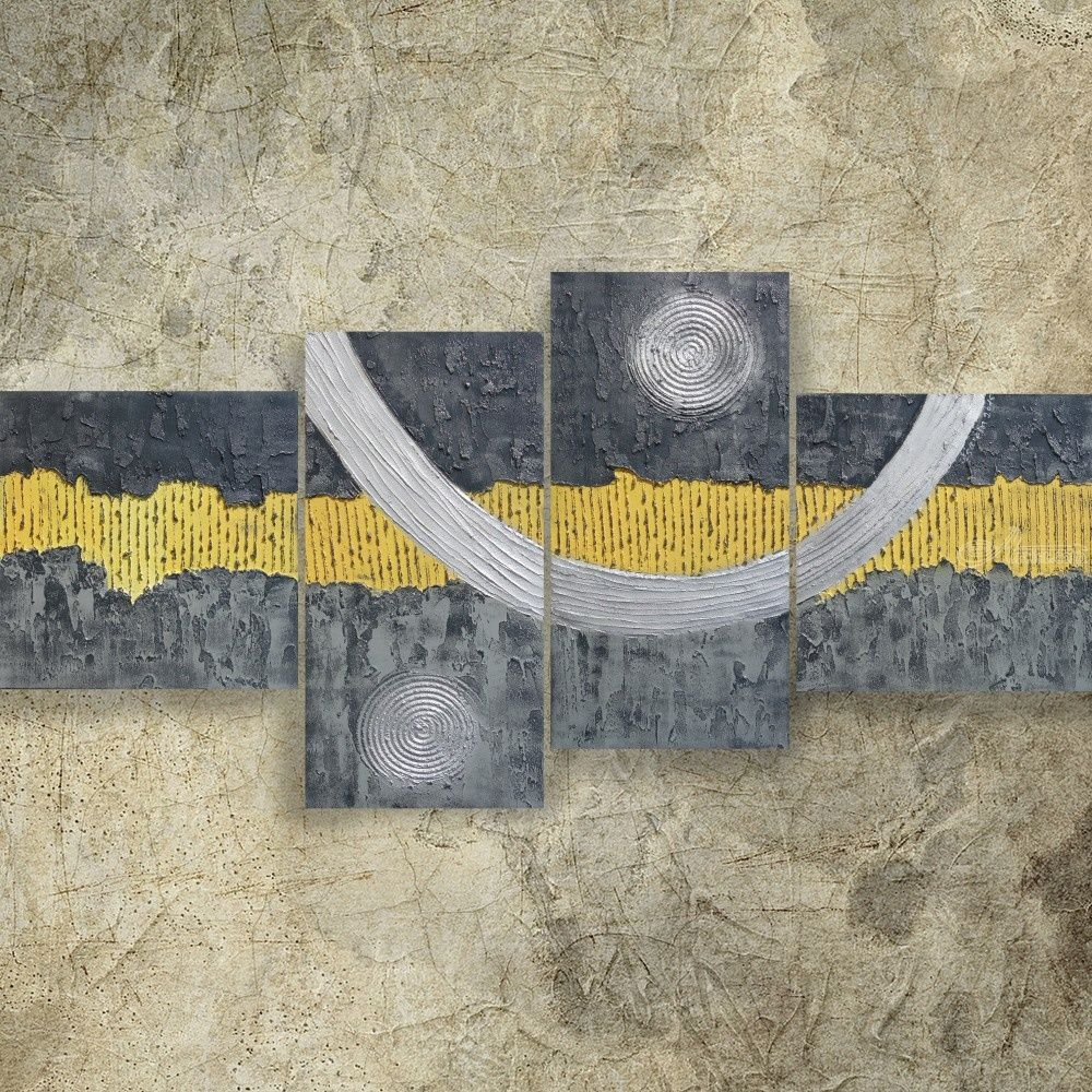 Textured Gray Yellow Silver Paintings A074 190x90x4 Cm Decor