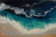 "LARGE Painting ""Seascape"", Paintings, Abstract, Landscape,Nature,Seascape, Acrylic,Canvas, By Irini Karpikioti"