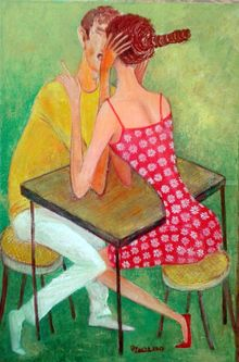 .love time, Paintings, Modernism, Figurative, Canvas, By ZAKIR AHMEDOV