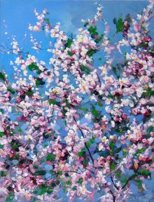 """Spring"", Paintings, Expressionism,Impressionism, Botanical,Floral,Landscape, Acrylic,Canvas, By Irini Karpikioti"