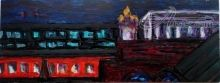 View of the Moscow railway station platform from a roof Ligovsky Prospect 50, Paintings, Abstract,Expressionism,Fine Art,Modernism,Opticality,Primitive,Surrealism, Composition,Daily Life,Decorative,Landscape, Acrylic,Mixed,Wood, By Kate Mikhatova