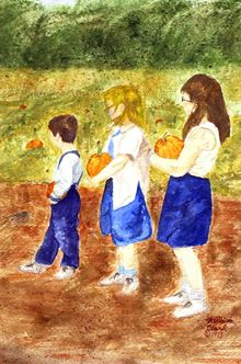 """Waiting for the Haywagon"", Paintings, Realism, Children, Watercolor, By William Clark"