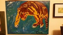 Swimming Tiger, Paintings, Abstract, Window on the World, Acrylic, By Terry Karasewich