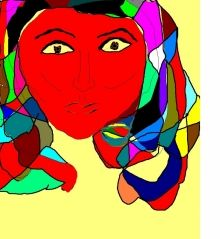 LADY IN RED, Digital Art / Computer Art, Abstract, Analytical art, Digital, By Catherine Bayani