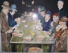 1933 Father  Dempseys Soup Kitchen in the Great Depression, Paintings, Realism, Historical, Watercolor, By Lora Roberts