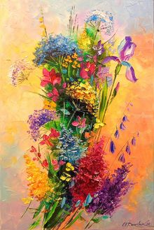 A bouquet of beautiful wild flowers, Paintings, Impressionism, Botanical,Wildlife, Canvas, By Olha   Darchuk