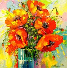 A bouquet of poppies, Paintings, Impressionism, Botanical,Floral,Nature, Canvas,Oil,Painting, By Olha   Darchuk