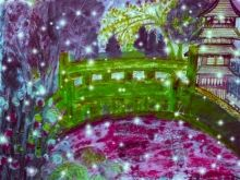 A Green Japanese Bridge Garden., Digital Art / Computer Art,Paintings, Impressionism, Landscape, Digital,Mixed,Painting, By Catherine Bayani