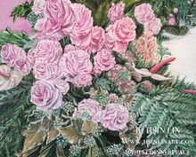 A LIFE TIME COMMITMENT - Pink Roses And Anthuriums, Paintings, Fine Art,Modernism,Photorealism,Romanticism, Botanical,Floral,Nature,Still Life,Weddings, Acrylic,Canvas, By HSIN LIN