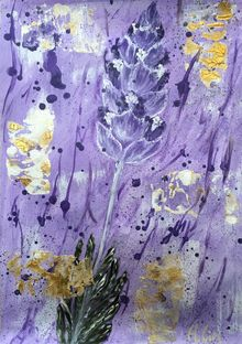 A PURPLE LAVENDER, Paintings, Abstract,Modernism, Avant-Garde,Botanical,Floral,Nature, Acrylic, By HSIN LIN
