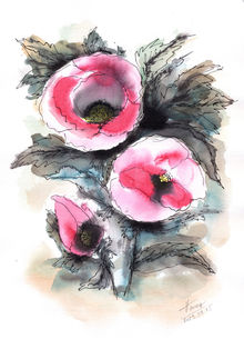 Abstract poppies, Paintings, Abstract, Impressionism, Modernism, Floral, Ink, Watercolor, By Aniko Hencz