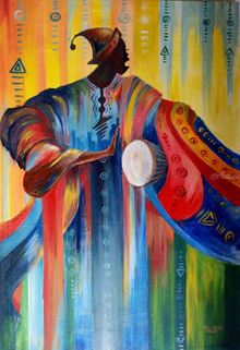 African drummer, Paintings, Abstract, Conceptual, Acrylic,Canvas, By Ernest Budu