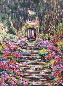 After Monet- Garden Path, Paintings, Impressionism, Floral, Oil,Painting, By Richard Nowak