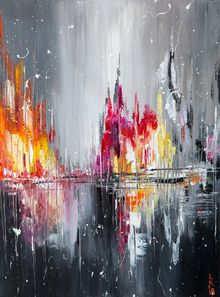 After rain, Paintings, Abstract, Cityscape,Figurative, Canvas,Oil, By Lyubov Kuptsova