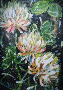 ALWAYS BE THERE-WHITE CLOVERS, Paintings, Abstract,Impressionism,Modernism, Botanical,Floral,Nature,Still Life, Acrylic, By HSIN LIN