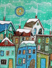 Another Snow Day 1, Folk Art, Fine Art, Cityscape, Acrylic, By KARLA GERARD