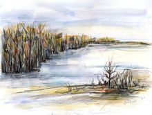 At the lake - original watercolor painting, Paintings, Abstract, Expressionism, Landscape, Nature, Ink, Watercolor, By Aniko Hencz