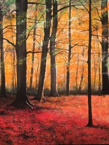 Autumn in England, Paintings, Impressionism, Landscape, Watercolor, By Stephen Keller