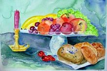 Bagels and Fruit, Paintings, Expressionism, Still Life, Watercolor, By Lora Roberts