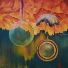 Beginning of time, Paintings, Abstract, Fantasy, Canvas, Oil, Wood, By MARINA VENEDIKTOVA