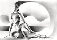 Bettie  Page - 19-05-18, Drawings / Sketch, Abstract,Cubism,Fine Art,Surrealism, Anatomy,Composition,Erotic,Figurative,Inspirational,Nudes,People, Pencil, By Corne Akkers