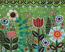 Blooms 1, Folk Art, Primitive, Floral, Acrylic, By KARLA GERARD