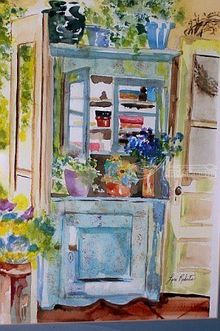 Blue Cabinet, Paintings, Realism, Furniture, Watercolor, By Lora Roberts
