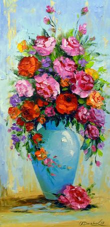 Bouquet of roses in a vase, Paintings, Impressionism, Botanical, Floral, Nature, Canvas, Oil, Painting, By Olha   Darchuk