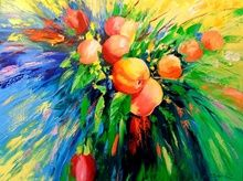 Branch of ripe apples, Paintings, Impressionism, Botanical,Nature, Canvas,Oil,Painting, By Olha   Darchuk