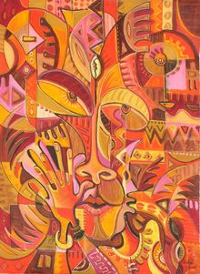 Bravo. Original painting from Cameroon, Africa, Paintings, Abstract, Cubism, People, Oil, By Angu Walters Che