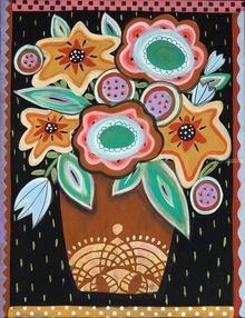 Brown Pot, Folk Art, Primitive, Floral, Acrylic, By KARLA GERARD