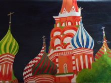 cathedral in moscow, Paintings,Paper Art, Expressionism,Realism, Religious, Oil, By supreet gujral