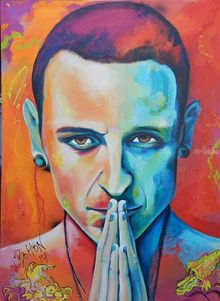 Chester Bennington in Hyper Realism, Paintings, Modernism,Realism, Portrait, Acrylic, By Lynne Bolton