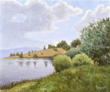 Coast of Lake, Paintings, Fine Art, Impressionism, Realism, Landscape, Nature, Canvas, Oil, By Dejan Trajkovic