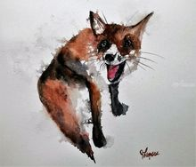 Crazy Fox, Paintings, Fine Art, Animals, Watercolor, By james lagasse