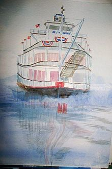 Delta Queen, Paintings, Realism, Seascape, Watercolor, By Lora Roberts