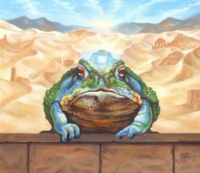 Dust Toad, Illustration, Paintings, Fine Art, Realism, Surrealism, Animals, Fantasy, Humor, Oil, By Rebecca Magar